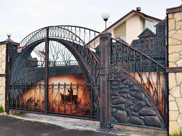 кованые ворота, красивые ворота