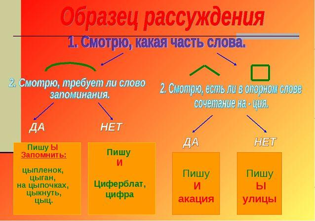 буквы И Ы после Ц