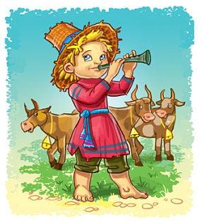 Пастух играет в рожок