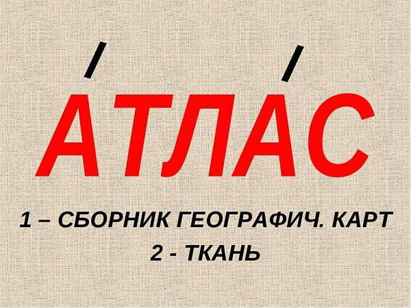 """Ударение в слове """"атлас"""""""
