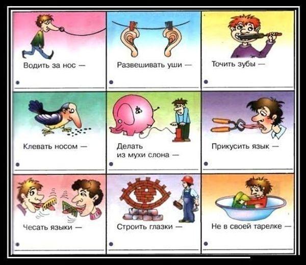 Примеры фразеологизмов в рисунках