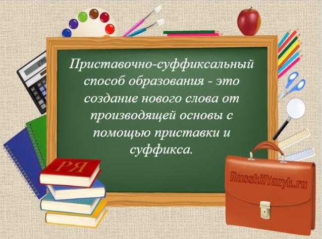 Приставочно-суффиксальный способ образования слов