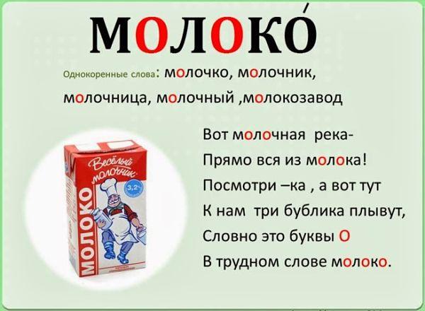 """Корень в слове """"молоко"""""""